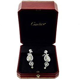Cartier White and Yellow Diamond Dangle Platinum Earrings with Papers, 10 TCW