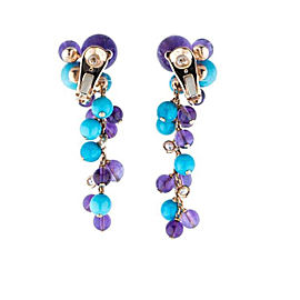 Cartier Delices de Goa Turquoise, Amethyst, and Diamond Drop Rose Gold Earrings