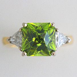 18k White and Yellow Gold Peridot Diamond Ring Size 7