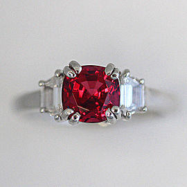 Platinum Red Spinel Diamond Cocktail Ring Size 7