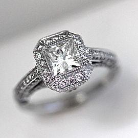 Platinum Diamond Halo Ring Size 6.5