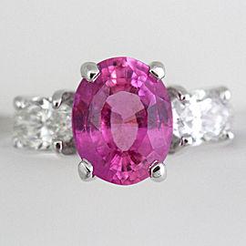 18K White Gold Pink Sapphire Diamond Ring Size 7