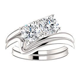 14K White Gold Diamond Engagement Ring Size 6.5