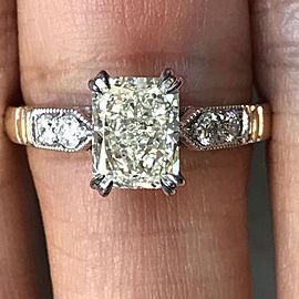 14K White & Yellow Gold Diamond Ring Size 7.5