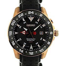 Seiko Kinetic GMT 5M85-0AA0 45mm Mens Watch