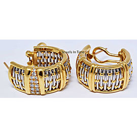 Cartier Entrelaces 18k Yellow & White Gold Diamond Woven Earrings
