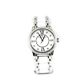 David Yurman Stainless Steel White Ceramic .93Tcw 34mm Diamond Classic Watch