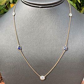 14K Yellow Gold Diamond Sapphire Necklace