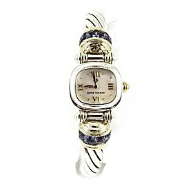 David Yurman Sterling Silver 14K Gold 10mm Mother Of Pearl Iolite Cable Watch
