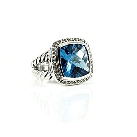 David Yurman Albion Sterling Silver .41tcw Blue Topaz, Diamond Ring