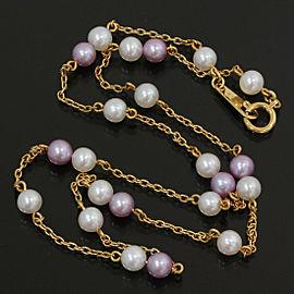 Tasaki 18K Yellow Gold Pearl Design Pendant Necklace