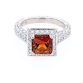 Jack Kelege KPR 423 Platinum Madeira Citrine & Diamonds Ring