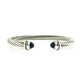 David Yurman Silver Ice Sterling Silver .20tcw Blue Topaz, Diamond Bracelet