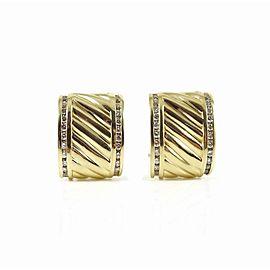 David Yurman Thoroughbred 18k Yellow Gold 1.12tcw Diamond Earrings