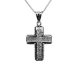 18K White Gold Princess & Round 2ct Diamond Cross Pendant Necklace