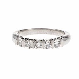 Platinum with Diamond Wedding Band Ring Size 6