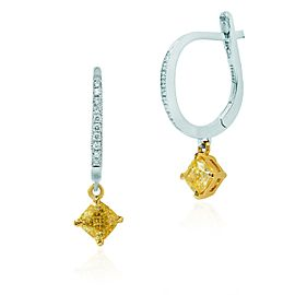 Leibish 18K White and Yellow Gold with 1.18ctw Cushion Diamond Drop Earrings