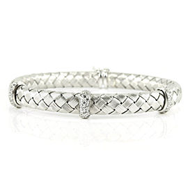 Roberto Coin Silk Weave 18k White Gold Diamond Bracelet