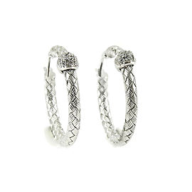 Roberto Coin Silk Weave 18k White Gold Diamond Earrings