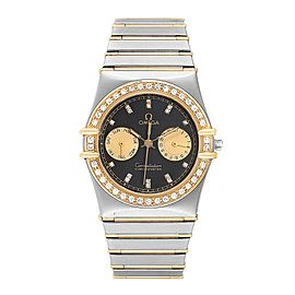 Omega Constellation Chronograph Steel Yellow Gold Diamond Mens Watch