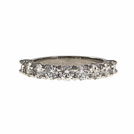 Platinum with Diamond Wedding Band Ring Size 6
