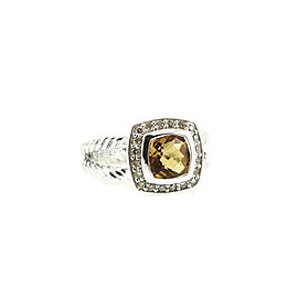David Yurman Petite Albion Sterling Silver Citrine, Diamond Ring