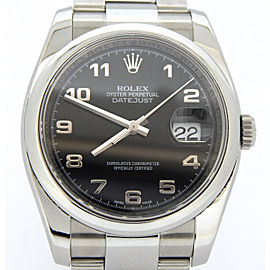 Mens Rolex Stainless Steel Datejust Arabic Black 116200
