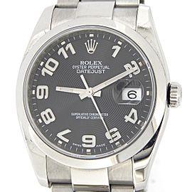 Mens Rolex Stainless Steel Datejust Black Arabic 116200