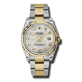 Rolex Datejust 116233 MDO Steel and Yellow Gold Mother of Pearl Diamond Dial 36mm Watch