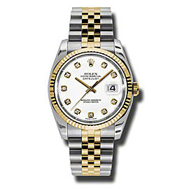 Rolex Datejust 116233WDJ Steel and Yellow Gold White Diamond Dial 36mm Watch