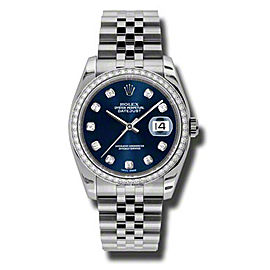 Rolex Datejust Steel and White Gold Blue Diamond Dial 36mm Watch