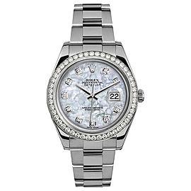 Rolex Rolex 41mm Datejust II Stainless Steel 116334 Custom Pearl Diamond Bezel Custom Pearl Diamond 41mm 116334