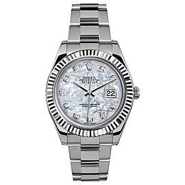 Rolex Rolex 41mm Datejust II Stainless Steel 116334 Custom Pearl Diamond Custom Pearl Diamond 41mm 116334