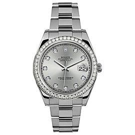 Rolex Rolex 41mm Datejust II Stainless Steel 116334 Custom Silver Diamond Bezel Custom Silver Diamond 41mm 116334