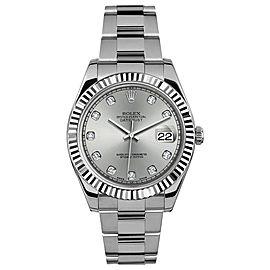 Rolex Rolex 41mm Datejust II Stainless Steel 116334 Custom Silver Diamond Custom Silver Diamond 41mm 116334