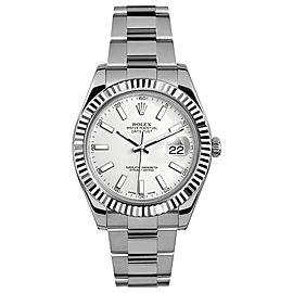 Rolex Datejust II 116334 White Index Dial 41mm Mens Watch