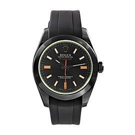 Rolex Milgauss PVD with Green Crystal on Rubber Strap 40mm Watch