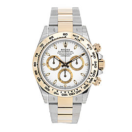Rolex Cosmograph Daytona Stainless Steel and 18K Yellow Gold Oyster Bracelet White Dial Automatic 40mm Men's Watch