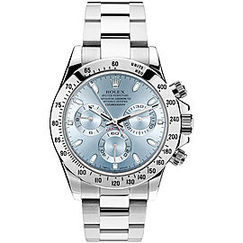 Rolex Pre Owned Steel Daytona 116520 Custom Ice Blue