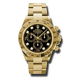 Rolex Daytona Yellow Gold Black Diamond Dial 40mm Watch