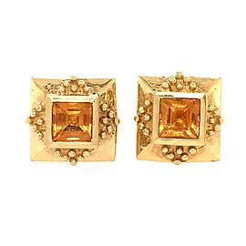 18k Yellow Gold Square Citrine Earrings