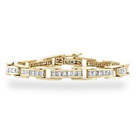 """Estate 14K Yellow Gold Princess Cut Diamond Bracelet Length: 7"""""""