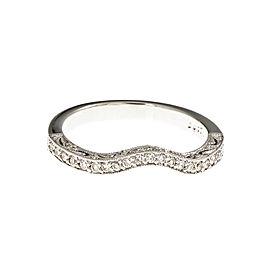 Platinum Curved Diamond Pavé Wedding Band Size 6.5
