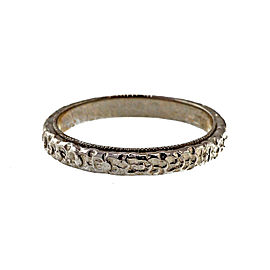 Platinum Engraved Flower Band Ring Size 5