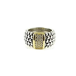 Lagos Signature Caviar Sterling Silver .34tcw Diamond Ring