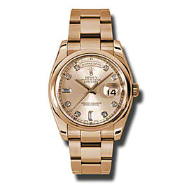 Rolex Day-Date President Rose Gold Pink Champagne Diamond Dial 36mm Watch