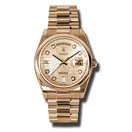 Rolex Day-Date President Rose Gold Champagne Diamond Dial 36mm Watch