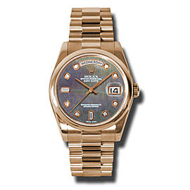 Rolex Day-Date President Rose Gold Dark Mother of Pearl Diamond Dial 36mm Watch