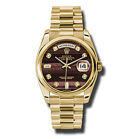 Rolex Day-Date President Yellow Gold Bulls Eye Diamond Dial 36mm Watch