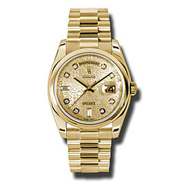 Rolex Day-Date President Yellow Gold Champagne Jubilee Diamond Dial 36mm Watch